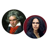 Pictured are the two composers featured on the performance: Ludwig van Beethoven (left) & Jessie Montgomery (right) - Uploaded by Society for Chamber Music in Rochester