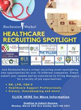 Healthcare Virtual Recruiting Event Flyer - Uploaded by RochesterWorks!