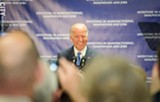 PHOTO BY MARK CHAMBERLIN - Vice President Joe Biden in Rochester today talking about the region's winning bid to be a photonics hub.