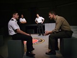 """PHOTO BY TYLER PACILIO - (From left to right) E.J. Cantu as Daniel Kaffee, Ruth Bellavia as Joanne - Galloway, John Winter as Sam Weinberg, and Dave Andreatta - as Jack Ross in the Blackfriars Theatre production of - """"A Few Good Men."""""""