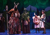 """PHOTO BY KEN HUTH - Patsy (Jennifer Cody) and King Arthur (Hunter Foster) - encounter the """"Knights of Ni"""" in Geva's production of - """"Monty Python's Spamalot."""""""