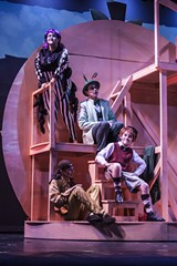 "PHOTO BY ASHLEIGH DESKINS - James and his friends hang out in the Giant Peach during ""James and the Giant Peach: The Musical."""
