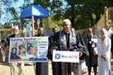 PHOTO BY JEREMY MOULE - The Rev. Dr. William Wilkinson of Trinity Emmanuel Presbyterian Church on Shelter Street joined other faith community leaders from across Monroe County last week to call on the next county executive to increase the number of children served by subsidized day care.