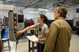 PHOTO BY MARK CHAMBERLIN - A precision machining class at MCC.
