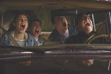 """PHOTO COURTESY SONY PICTURES - Dylan Minnette, Odeya Rush, Ryan Lee, and Jack Black in - """"Goosebumps."""""""
