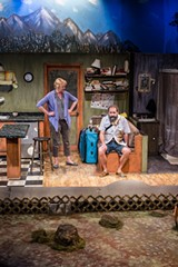 """PHOTO BY DAN HOWELL - Kerry Young as Emma and Rick Staropoli - as Ulysses in the Blackfriars Theatre production of - """"Annapurna."""""""