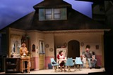 """PHOTO BY KEN HUTH - Laura Gragtmans, Toni Di Buono, and Colin Ryan in """"Miracle on South Division - Street,"""" on stage now at Geva Theatre Center."""