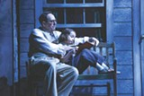"PHOTO BY KEN HUTH - Skip Greer as Atticus Finch and Erin Mueller as Scout - Finch in ""To Kill a Mockingbird,"" on stage at Geva - Theatre Center. Mueller shares the role of Scout with Alden Duserick."