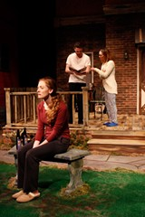 "PHOTO BY DAN HOWELL - Jill Rittinger as Catherine, - Colin Pazik as Hal, and Stephanie Sheak - as Claire in the Blackfriars Theatre production of - ""Proof."""