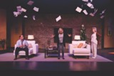 """PHOTO BY RON HEERKENS JR. - Brooke Wyeth (center; portrayed by Marlo DiCrasto) confronts her parents Lyman (Fred Nuernberg) and Polly (Patricia Lewis Browne) in the play - """"Other Desert Cities,"""" on stage at the JCC CenterStage."""