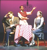 """PHOTO PROVIDED - Mathias Polar, JP Dunphy, and Stephanie Rubeo make up the - three-person cast of """"Book of Love,"""" now on stage at Downstairs Cabaret - Theatre."""