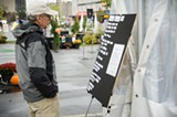 PHOTO BY MARK CHAMBERLIN - Guerrilla Art is set up in the Speigelgarden. Just watch out for the rain.