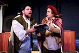 "PHOTO BY ANNETTE DRAGON - Skylar Shaw (as Guildenstern) and Sean Michael Smith (as - Rosencrantz) in the Shakespeare Players' production of ""Rosencrantz and - Guildenstern Are Dead."""