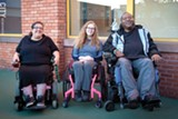 PHOTO BY RYAN WILLIAMSON - Ericka Jones, far left, Stephanie Woodward, and Rasheem Broughton say the disabled must have better access to buildings.