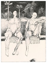 "PHOTO PROVIDED - Bob Conge's digital drypoints, ""Poolside with E.E. Cummings"" is part of the Print Club of Rochester's anniversary show that is currently displayed at Tower Fine Arts Gallery in Brockport."
