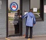 PHOTO BY TORI MARTINEZ - Rochester's Republican headquarters offices were the focus on protests over the proposed cuts to Medicaid funding.