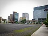 PHOTO BY KEVIN FULLER - Parcel 5: the former bustling retail center is waiting for development.
