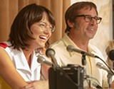 "PHOTO COURTESY FOX SEARCHLIGHT - Emma Stone and Steve Carell as Billie Jean King and Bobby Riggs in ""Battle of the Sexes."""