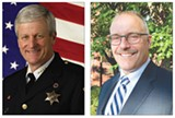 Left, Monroe County Sheriff Patrick O'Flynn. Right, Democratic challenger Todd Baxter