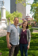 PHOTO BY RENÉE HEININGER - Jason and Stefanie Schwingle of the - Washington Square Park Community Association are leading a community - brainstorming session for the downtown park on Saturday, June 2.