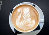 PHOTO BY RENÉE HEININGER - Latte art by Locals Only General Manager Sapphire Courchaine. Set to open in June, the eatery will source its food, booze, and coffee beans from New York State farms, distilleries, and roasters.