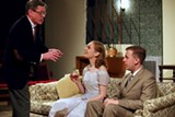 "PHOTOS BY WALLBYRD THEATRE COMPANY - Kevin Sean Sweeney as George, Sarah Kingsley as Honey, and Kiefer Santiago Schenk as Nick in Wallbyrd's production of ""Who's Afraid of Virginia Woolf?"""