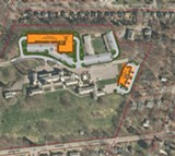 COURTESY OF FLAUM MANAGEMENT - Developer Angelo Ingrassia's conceptual site plan for the Colgate Rochester Crozer Divinity School campus, with proposed new buildings in orange.