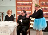 "PHOTO BY ANNETTE DRAGON - Kate Lacy-Stokoe as Penelope Sycamore, Stephen Cena as Anthony Kirby, and Kathy Dauer as Essie Carmichael in Screen Plays' production of ""You Can't Take it With You."""