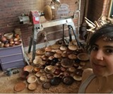 Hannah Hamad with some of hand turned vessels. - Uploaded by susancarmenduffy