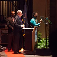 Mayor Lovely Warren's Inauguration Ceremony US Senator Charles Schumer at the podium. PHOTO BY JOHN SCHLIA