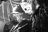 """NEW LINE PRODUCTIONS - Vying for the kill: Robert Englund and Ken Kirzinger in """"Freddy vs. Jason."""""""