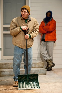 """Walter (senior W. Spencer Klubben,), left and Matthew (junior Shaquill McCullers,) meet for the first time while shoveling snow outside their apartments in the University of Rochester Todd Theatre's production of """"The Rochester Plays."""" PHOTO BY J. ADAM FENSTER / UNIVERSITY OF ROCHESTER - PHOTO BY J. ADAM FENSTER / UNIVERSITY OF ROCHESTER"""