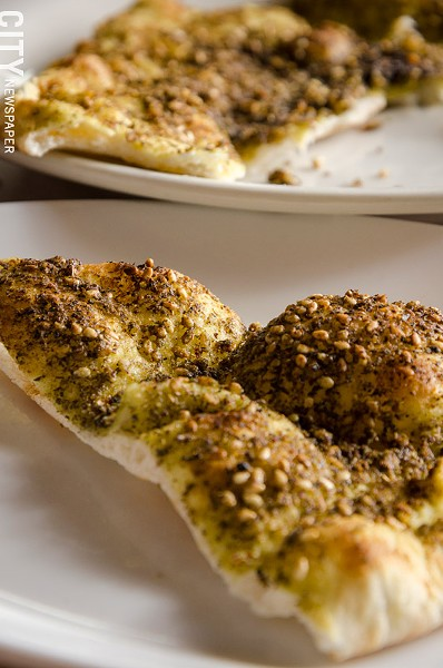Za'atar Manakeesh (flatbread with thyme, sumac, and olive oil) - PHOTO BY MARK CHAMBERLIN