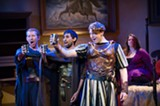 "PHOTO BY KATE MELTON - Zachary Burgess, Siddarth Dubey, and Garrett Obrycki (left to right) in Eastman Opera Theatre's ""The Rape of Lucretia."""