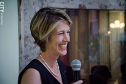Zephyr Teachout during a stop at Village Gate. - PHOTO BY MARK CHAMBERLIN