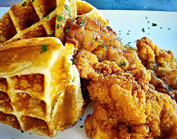 Chicken and waffles from Arcade Midtown Kitchen - ROMEJARHEAD/INSTAGRAM