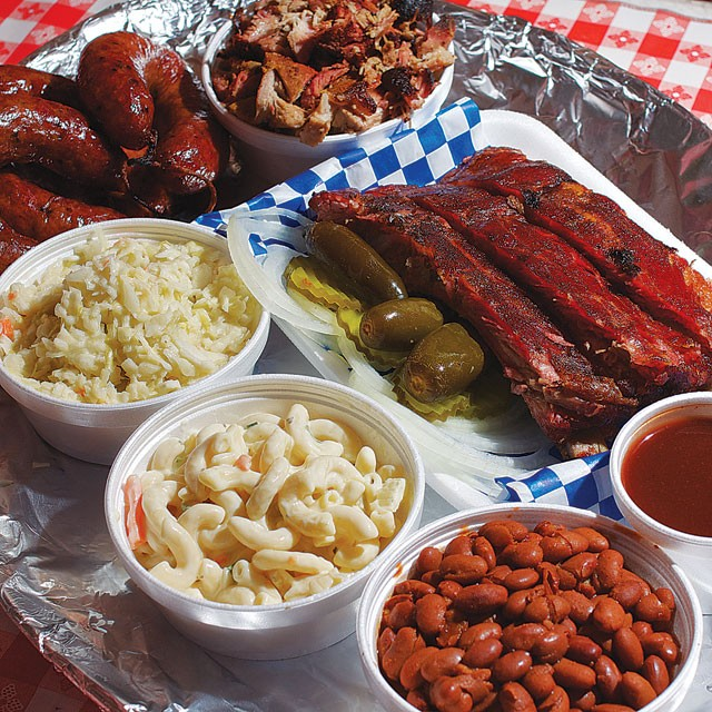 A barbecue spread from Ed's Smok-N-Q - STEVEN GILMORE