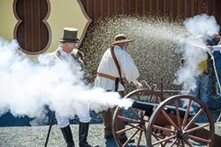 A celebratory first keg tap and cannon shot kicked off the Alamo Beer festivities. - JAIME MONZON