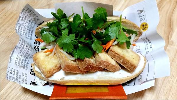A fried lemongrass tofu— still in development phase — via the Stand Banh Mi pop-up - COURTESY DAVE RIZO