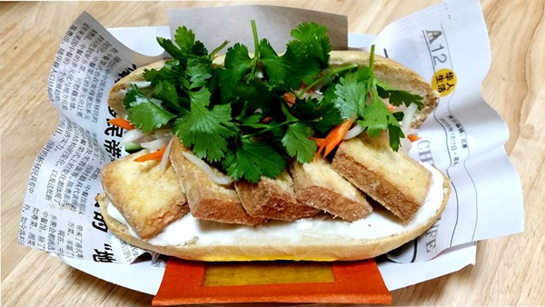 A fried lemongrass tofu — still in development phase — via the Stand Banh Mi pop-up - COURTESY DAVE RIZO