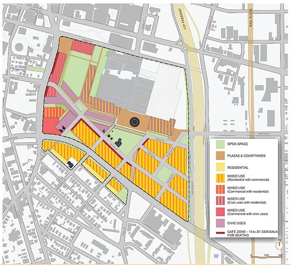 A map detailing proposed land use in HemisFair's master plan