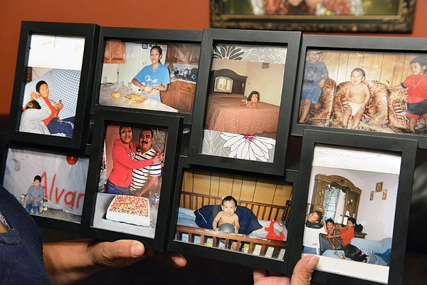 A picture frame showing Raquel Alvarado's three children who were killed in Tamaulipas. - MIGUEL ROBERTS