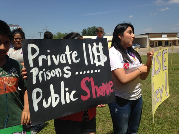 A protest against immigrant detention was held in Dilley, Texas, on Saturday. - COURTESY