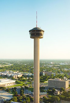 A room with a view and a drink at Tower of the Americas.