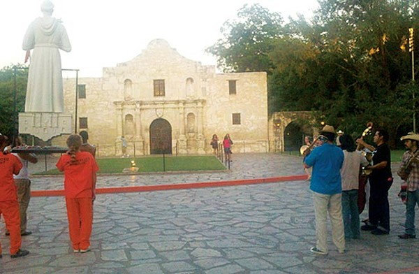 Actors carrying San Antonio Rodney Penny, Luis Valderas, Antonio Hurtado and Jason Brown and members of Los Nahuatlatos - SCOTT ANDREWS