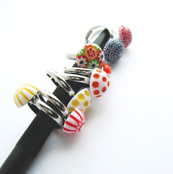 An assortment of handmade rings from ChickRocks.