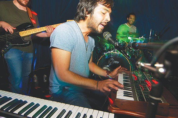 Aria Satellite's Manuel Rodriguez hits the MicroKORG at Limelight - PHOTO BY STEVEN GILMORE