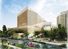 COURTESY IMAGE - Artist's rendering of Tobin Center, view from the river. Image courtesy BCPACF.