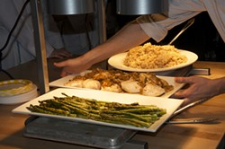 Asparagus, roast chicken breast and classic risotto - HANNAH SHOUP