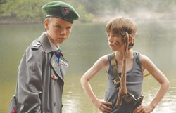 "Bill Milner practices his ""blue steel"" and Will Poulter stares into the horizon in Son of Rambow."